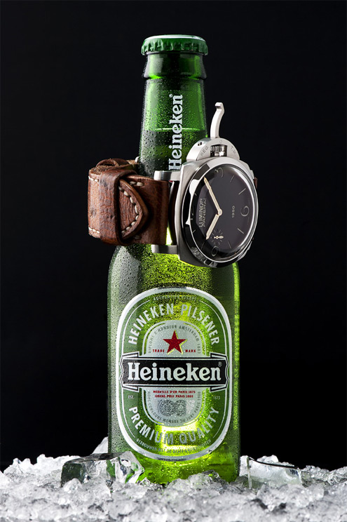 Panerai PAM127 on a Heineken beer bottle