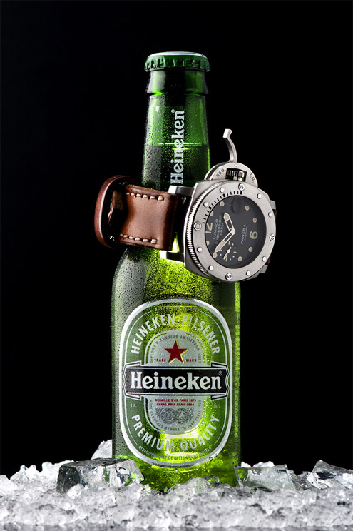 Panerai PAM243 on a Heineken beer bottle