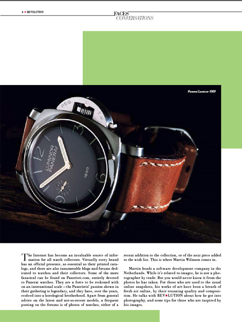 Panerai article in Hong Kong Revolution magazine