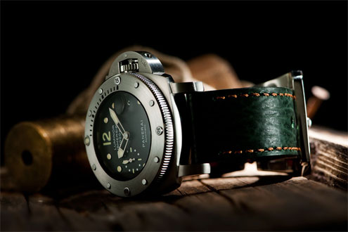 Panerai PAM243 with a green shark strap by strap-works