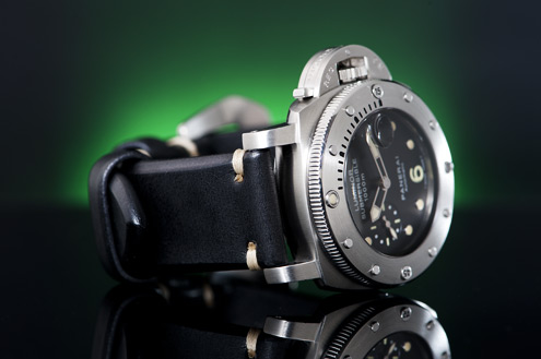 Simona Black saddle strap on a Panerai PAM243