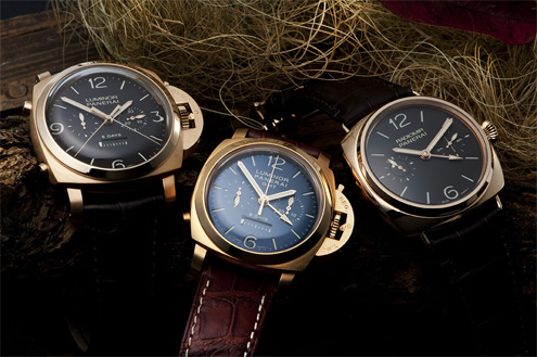 Three gold Panerai watches: PAM277, PAM319 and PAM330